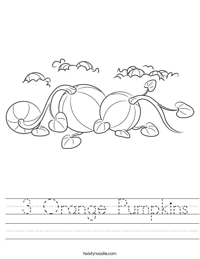 3 Orange Pumpkins Worksheet