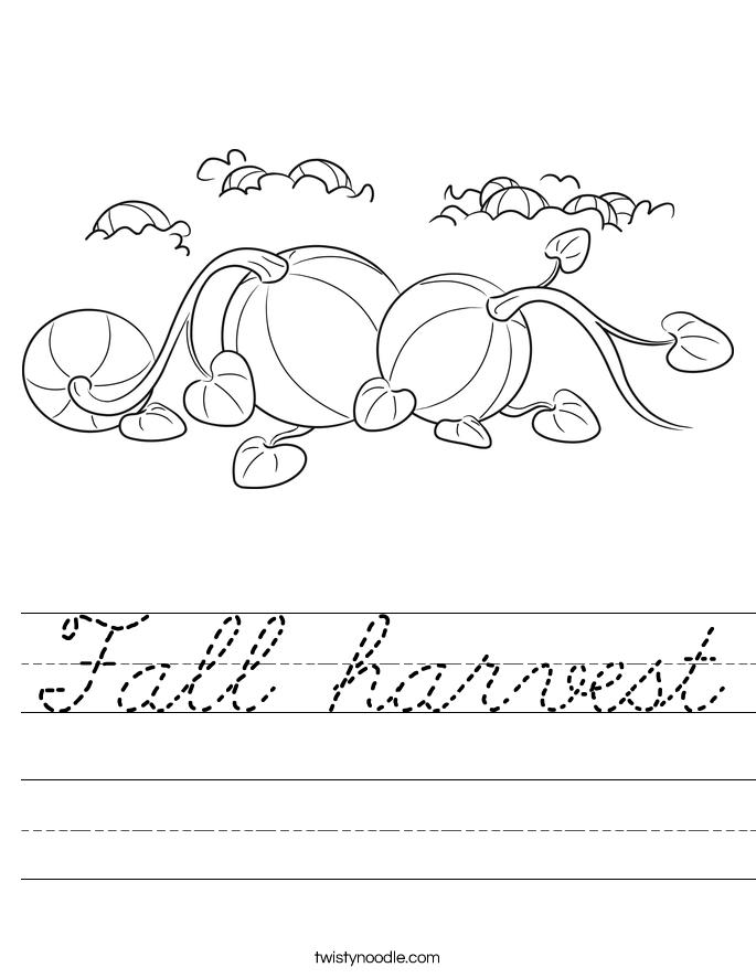 Fall harvest Worksheet