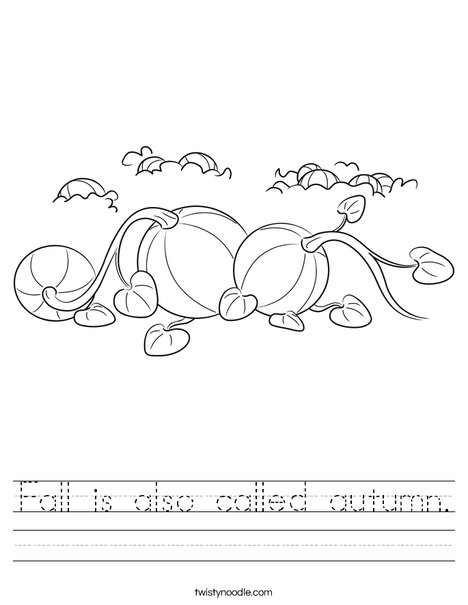 Number Names Worksheets autumn worksheet : Fall is also called autumn Worksheet - Twisty Noodle