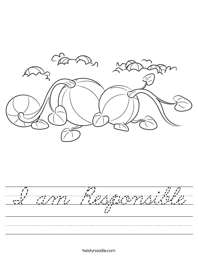 I am Responsible Worksheet