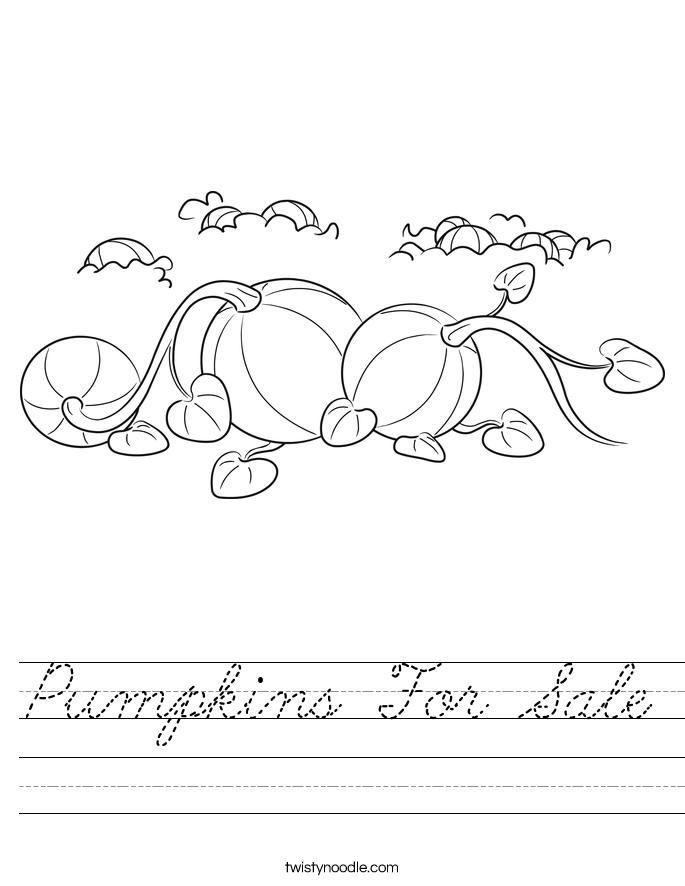 Pumpkins For Sale Worksheet