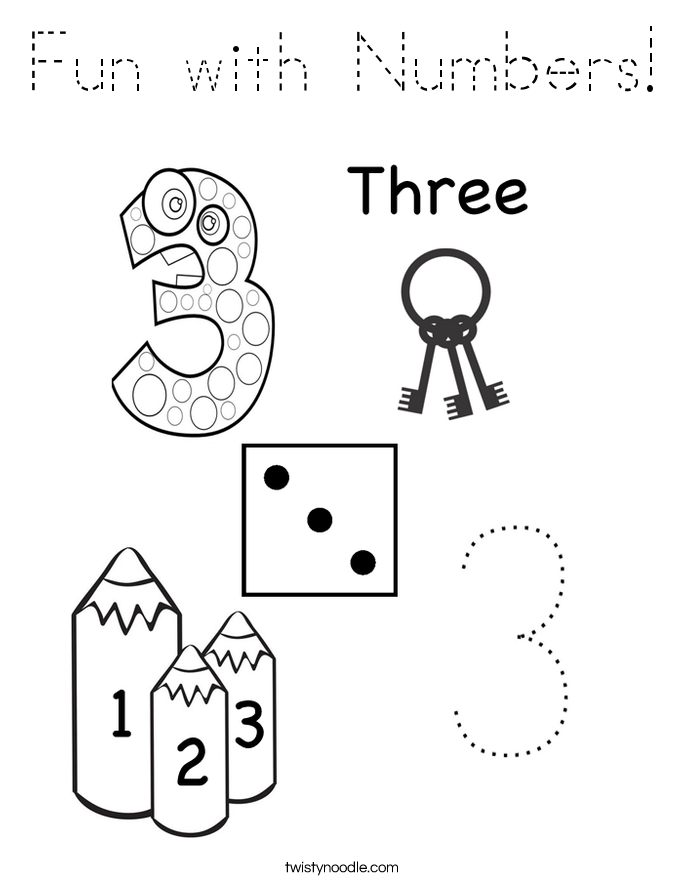 Fun with Numbers Coloring Page - Tracing - Twisty Noodle