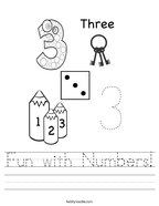 Fun with Numbers Handwriting Sheet