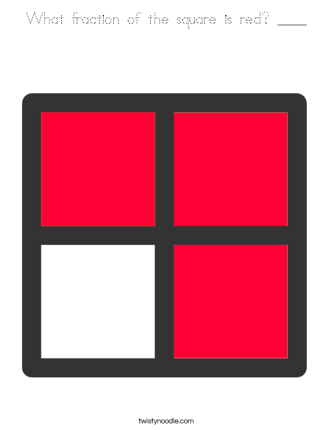 What fraction of the square is red? ____ Coloring Page