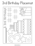 3rd Birthday Placemat Coloring Page