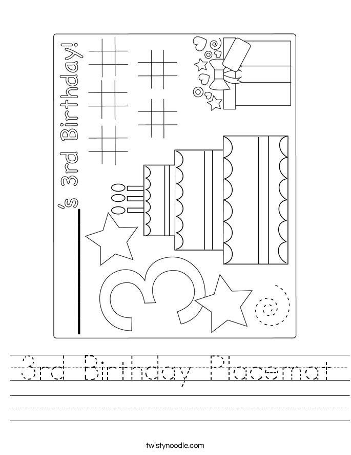 3rd Birthday Placemat Worksheet