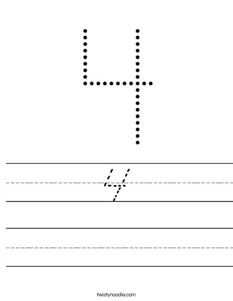 Tracing 4 Worksheet