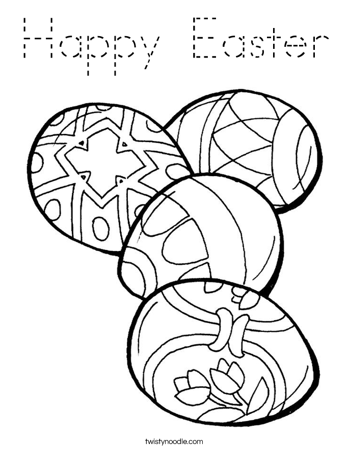 Happy Easter Coloring Page Tracing Twisty Noodle