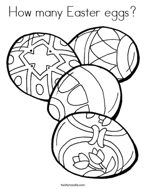 4 Easter Eggs Coloring Page