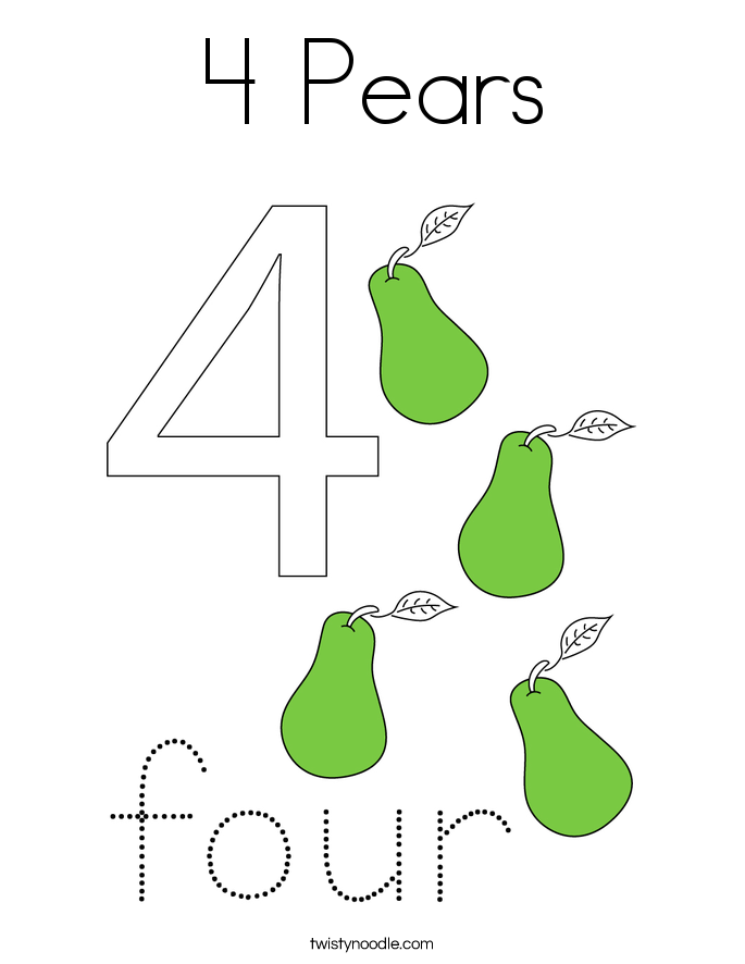 4 Pears Coloring Page