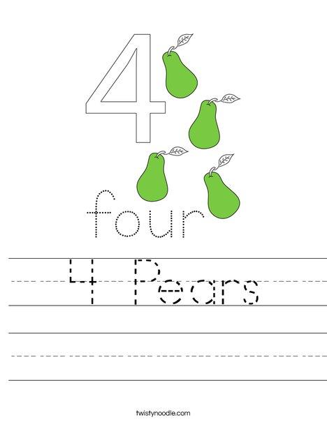 4 Pears Worksheet