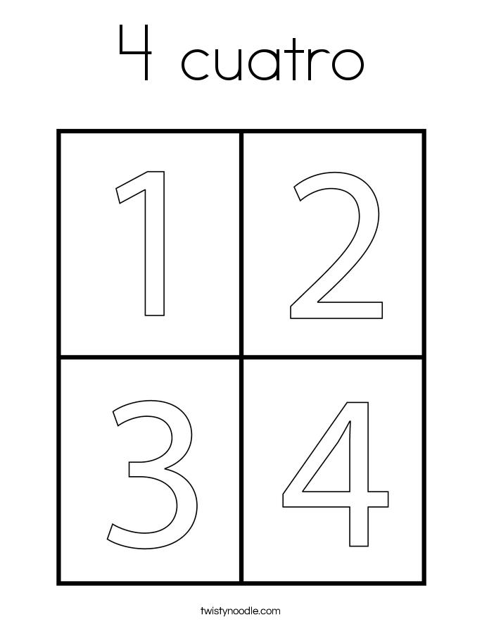 4 cuatro Coloring Page