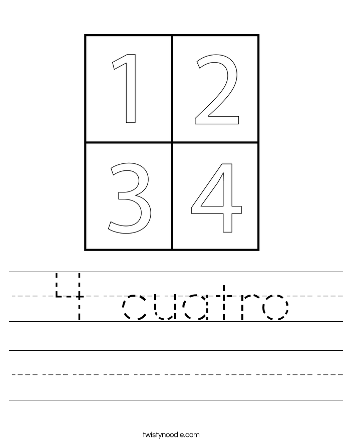 4 cuatro Worksheet