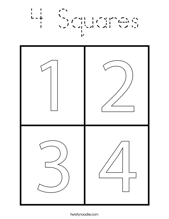 4 Squares Coloring Page