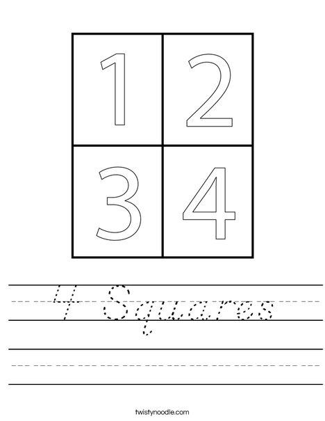 4 Squares Worksheet