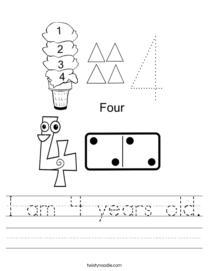 I am 4 years old. Worksheet