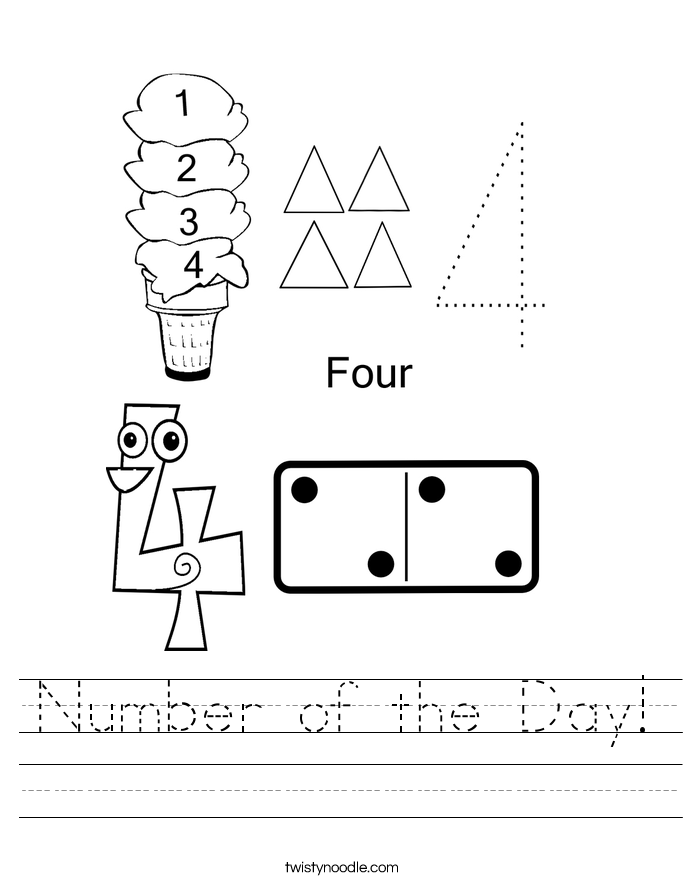 Number Of The Day Worksheet Twisty Noodle