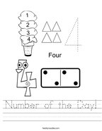 Number of the Day Handwriting Sheet