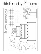 4th Birthday Placemat Coloring Page