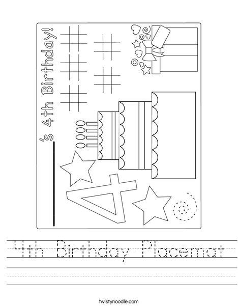 4th Birthday Placemat Worksheet