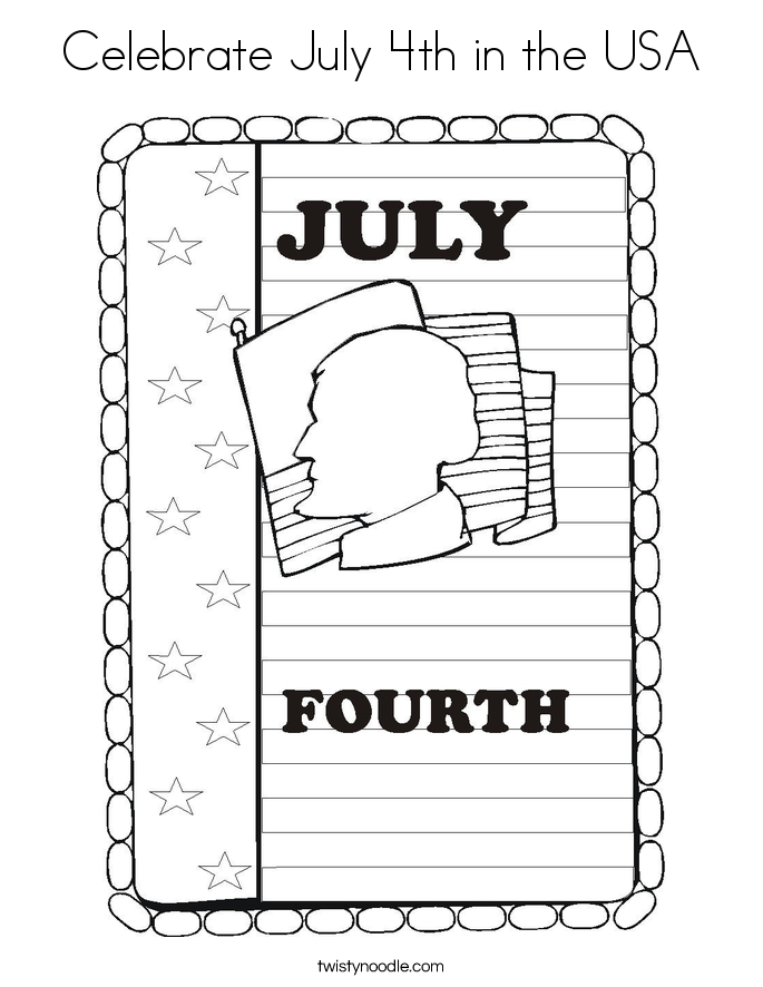 Celebrate July 4th in the USA Coloring Page