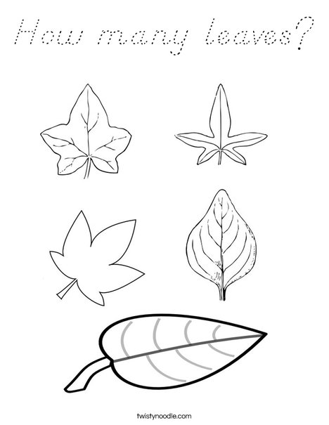5 Leaves Coloring Page