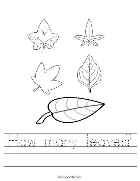 How many leaves Worksheet - Twisty Noodle