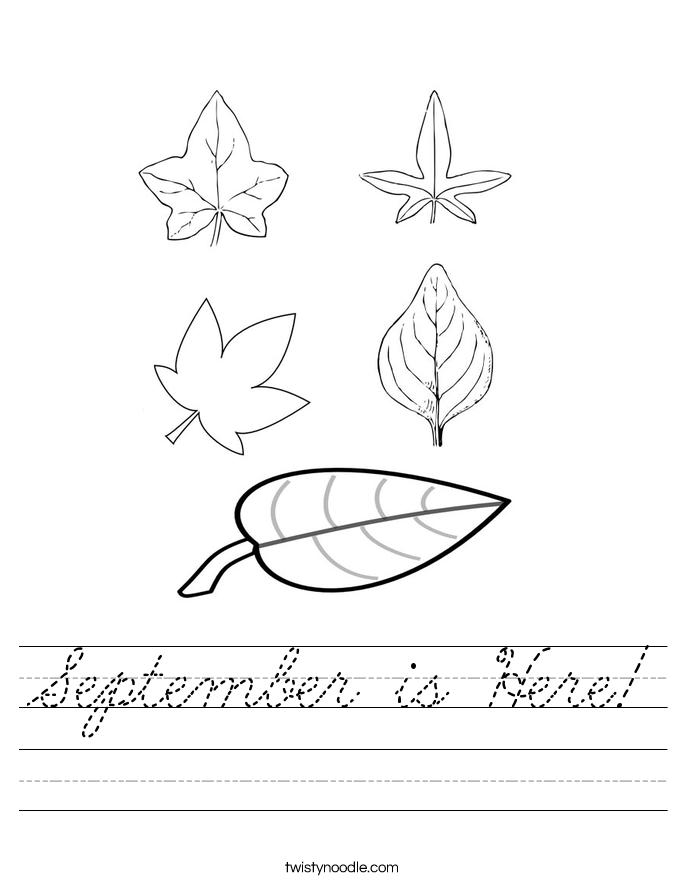 September is Here! Worksheet