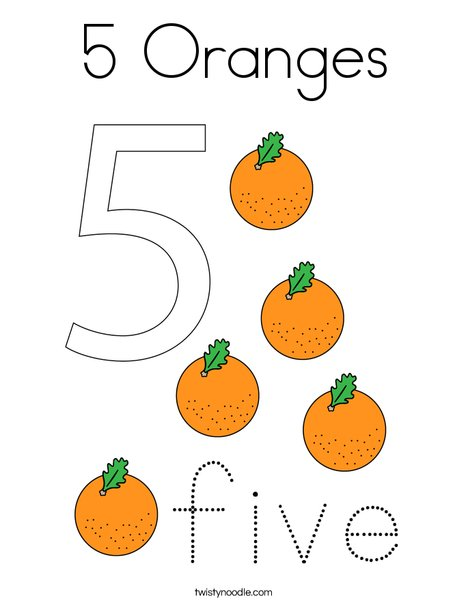 5 Oranges Coloring Page