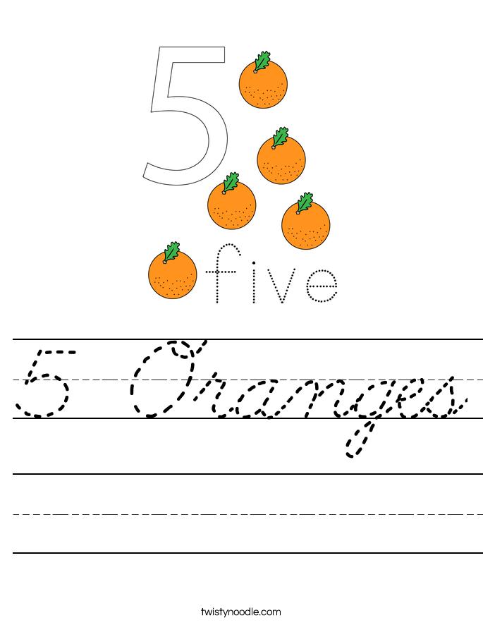5 Oranges Worksheet