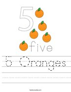 5 Oranges Handwriting Sheet