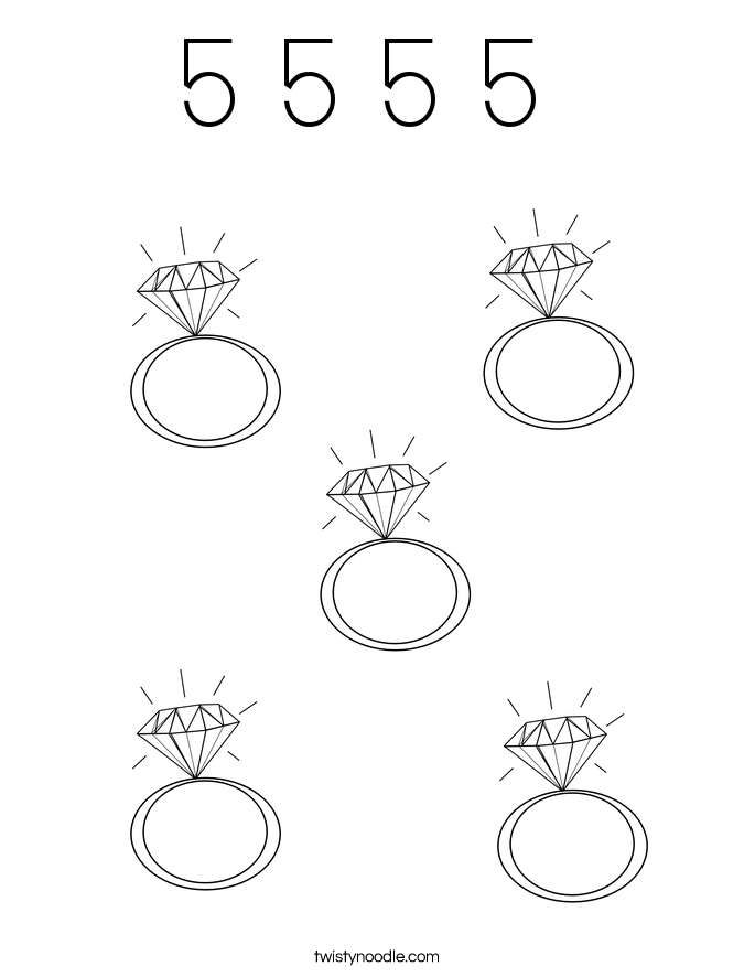5 5 5 5  Coloring Page