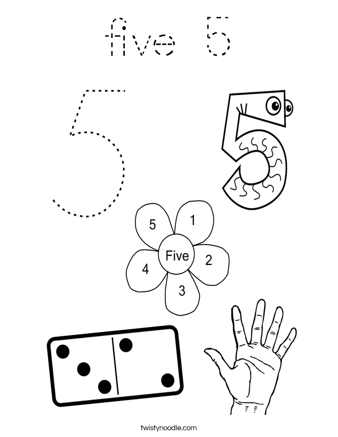 five 5 Coloring Page