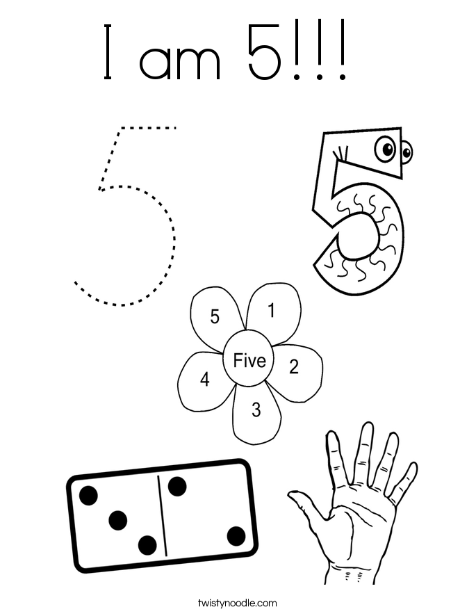 I am 5!!!  Coloring Page
