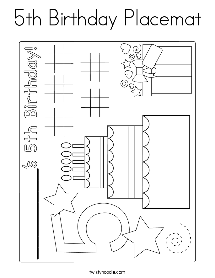 5th Birthday Placemat Coloring Page