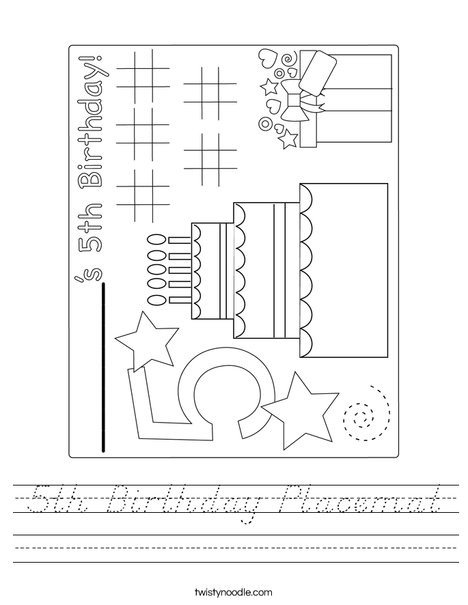 5th Birthday Placemat Worksheet