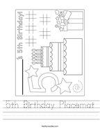 5th Birthday Placemat Handwriting Sheet