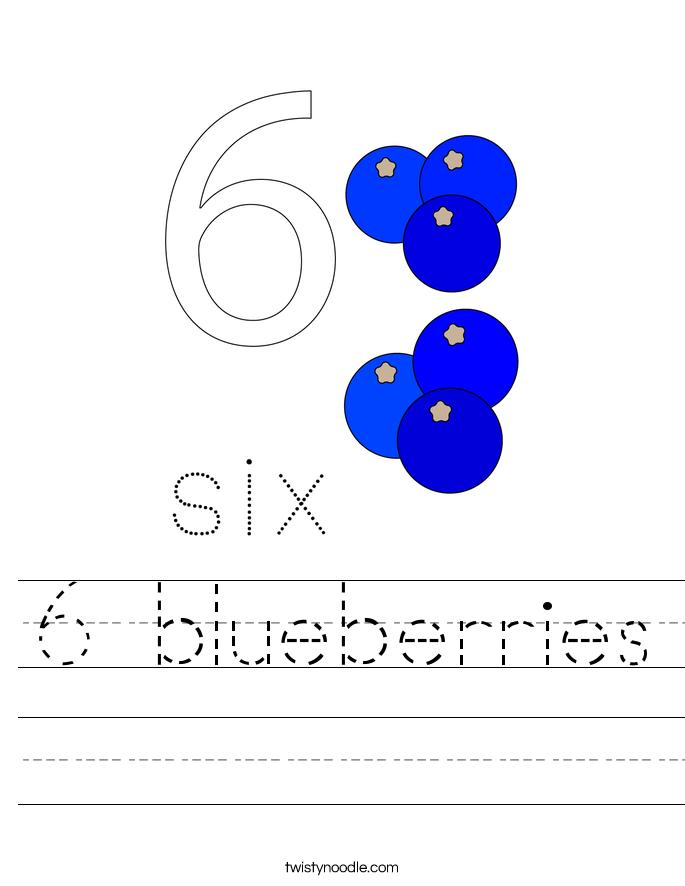 6 blueberries Worksheet