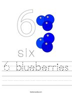6 blueberries Handwriting Sheet