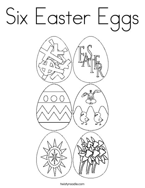 6 Easter Eggs Coloring Page