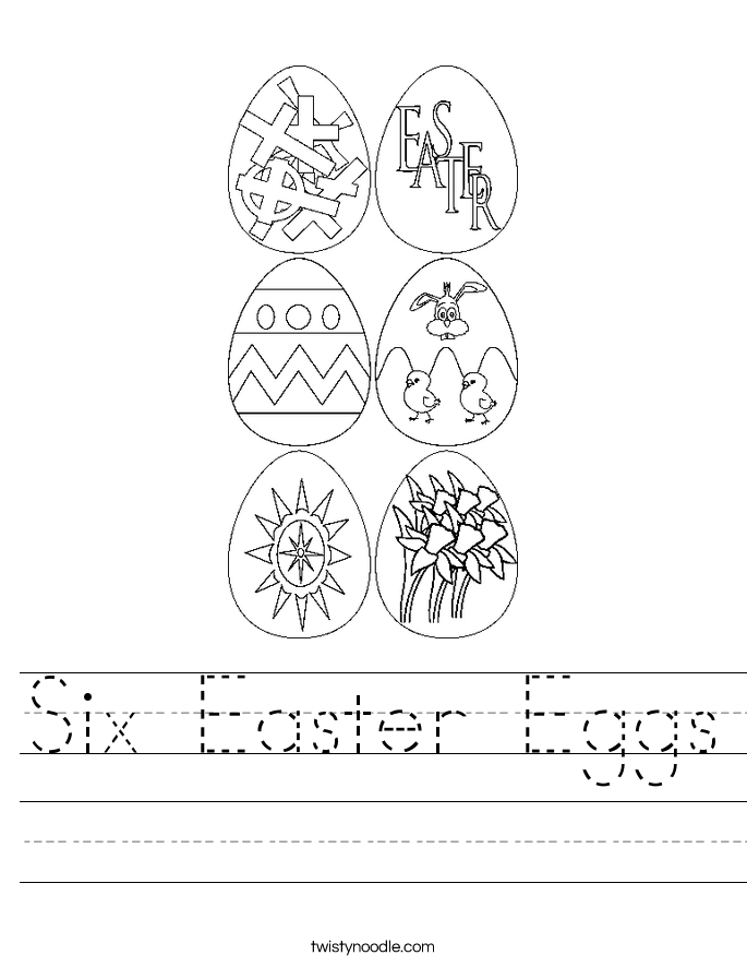 Six Easter Eggs Worksheet