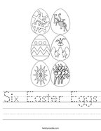 Six Easter Eggs Handwriting Sheet