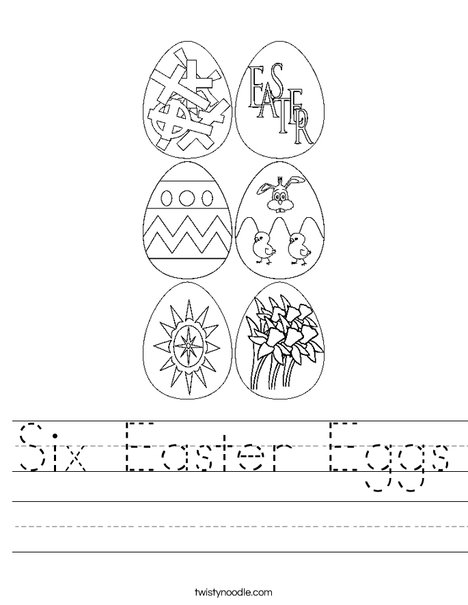 6 Easter Eggs Worksheet