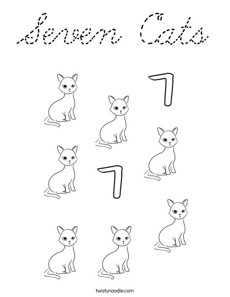 7 Cats Coloring Page