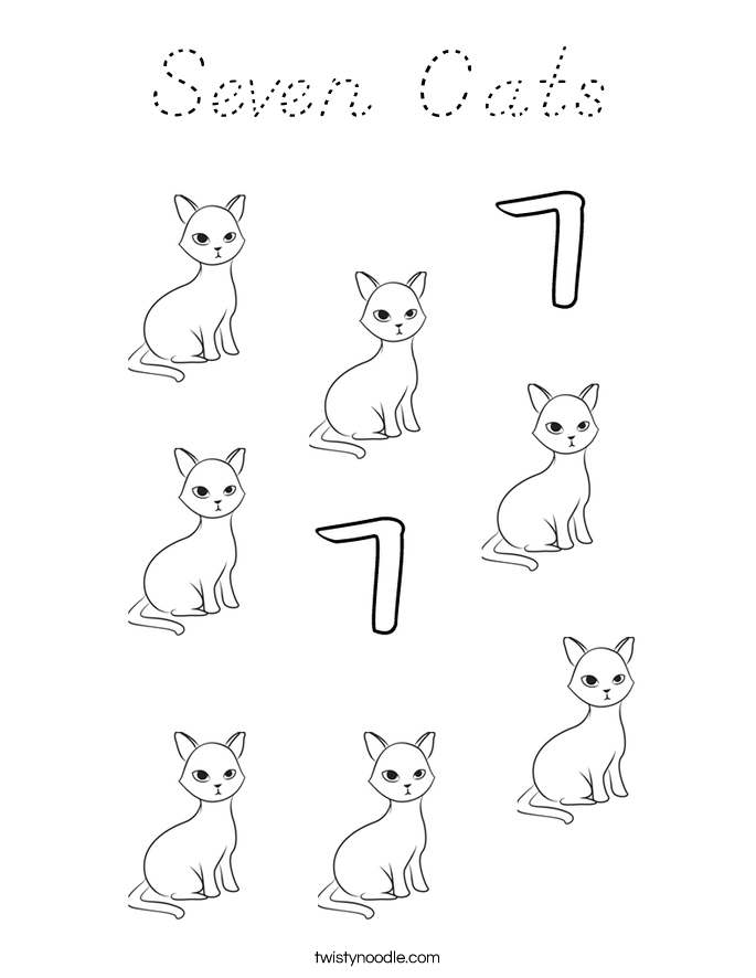 Seven Cats Coloring Page
