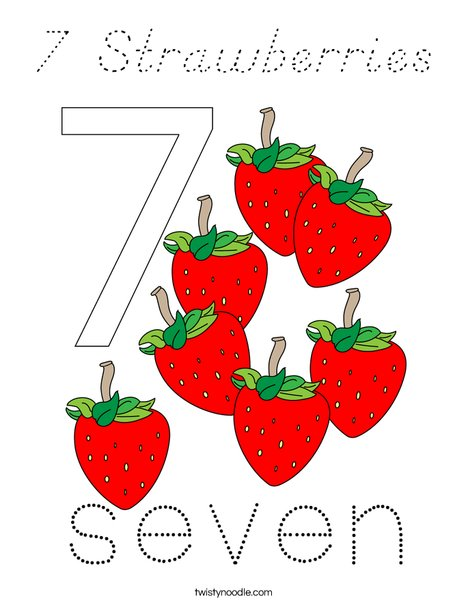 7 Strawberries Coloring Page