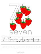 7 Strawberries Handwriting Sheet