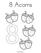 8 Acorns Coloring Page