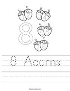 8 Acorns Handwriting Sheet