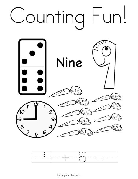9 Coloring Page
